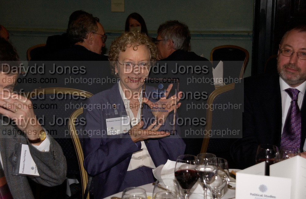 Carole Pateman, Political Studies Association Awards 2004. Institute of Directors, Pall Mall. London SW1. 30 November 2004.  ONE TIME USE ONLY - DO NOT ARCHIVE  © Copyright Photograph by Dafydd Jones 66 Stockwell Park Rd. London SW9 0DA Tel 020 7733 0108 www.dafjones.com
