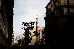 The minaret of a mosque in downtown Cairo.