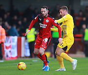 Crawley Town striker Rhys Murphy shields the ball from Bristol Rovers defender Lee Brown during the Sky Bet League 2 match between Crawley Town and Bristol Rovers at the Checkatrade.com Stadium, Crawley, England on 21 November 2015. Photo by Bennett Dean.