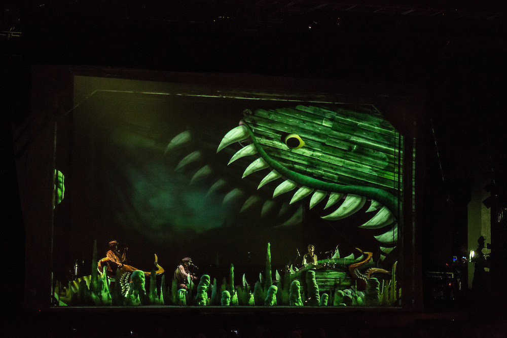 A huge fish appears to be about to devour the Tiger Lillies. Their entire performance was behind a scrim upon which scenes were projected.