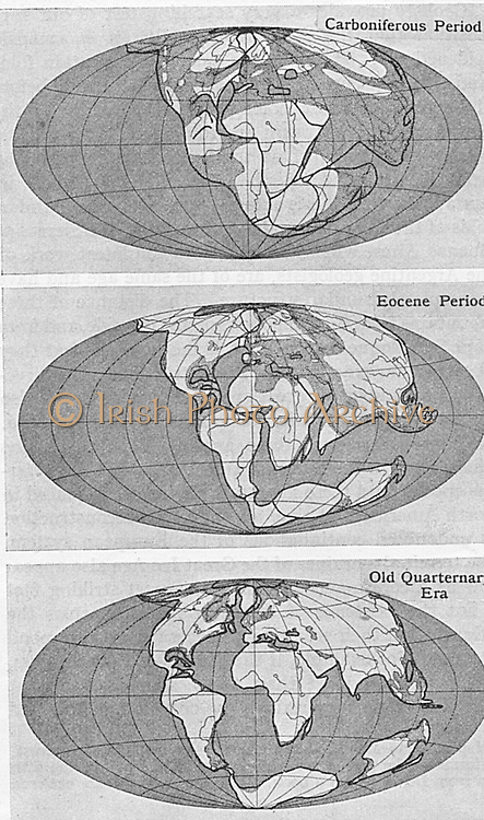 Diagram of continental drift from an article by Alfred Wegener (1880-1930)on his theory of Continental Drift (Wegener Hypothesis: 1915) published in Discovery, London, 1922Engraving.