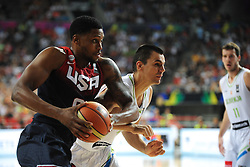Rudy Gay of USA vs Jure Balazic of Slovenia during basketball match between National Teams of Slovenia and USA in Quarterfinals of FIBA Basketball World Cup Spain 2014, on September 9, 2014 in Palau Sant Jordi, Barcelona, Spain. Photo by Tom Luksys  / Sportida.com <br /> ONLY FOR Slovenia, France