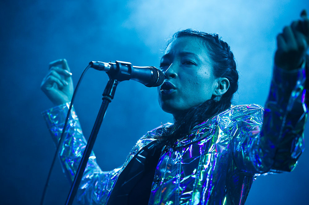 Yukimi Nagano (Vocals) from Swedish electronic music band Little Dragon performs live at Freiheizhalle in Munich, Germany.