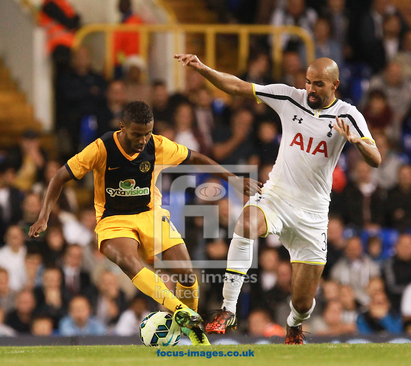 Sandro of Tottenham Hotspur and Diego Barcelos of AEL Limassol during the UEFA Europa League qualifying play off second leg at White Hart Lane, London<br /> Picture by John Rainford/Focus Images Ltd +44 7506 538356<br /> 28/08/2014
