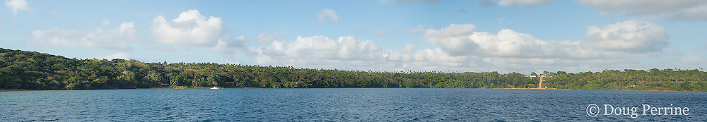 panoramic view of Hunga Island from Hunga Lagoon, with Ikalahi International Fishing Lodge on the left, and Hunga Village on the right, Vava'u, Kingdom of Tonga, South Pacific; created by merging five photographs