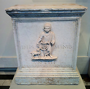 Marble funerary altar for a Roman child. Circa 1st Century AD