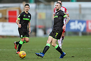 Forest Green Rovers Carl Winchester(7) passes the ball forward during the EFL Sky Bet League 2 match between Stevenage and Forest Green Rovers at the Lamex Stadium, Stevenage, England on 26 January 2019.