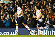 Etienne Capoue of Tottenham Hotspur celebrates scoring his team's second goal against Burnley to make it 2-2 with Benjamin Stambouli of Tottenham Hotspur (right) during the FA Cup match at White Hart Lane, London<br /> Picture by David Horn/Focus Images Ltd +44 7545 970036<br /> 14/01/2015