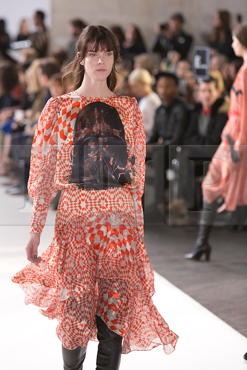 © Licensed to London News Pictures. 16 February 2014, London, England, UK. A model walks the runway at the Preen by Thornton Bregazzi show during London Fashion Week AW14 at The National Film Theatre, Southbank Centre. Photo credit: Bettina Strenske/LNP