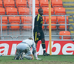 BLACKPOOL, ENGLAND - Wednesday, March 3, 2011: Liverpool's Emmanuel Gomis Mendy looks dejected after conceding the winning goal to Blackpool during the FA Premiership Reserves League (Northern Division) match at Bloomfield Road. (Photo by David Rawcliffe/Propaganda)