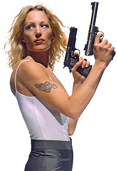 Woman with gun with silencer