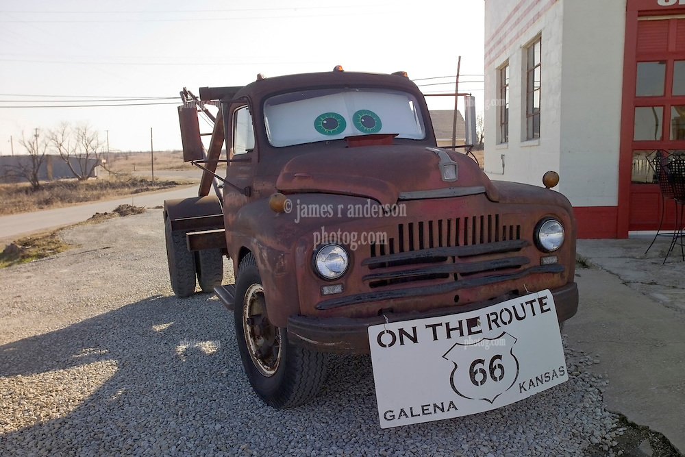 """The Tow Truck that inspired the Cars Film Character Mater. At the corner """"Four Women on the Route"""" Front and S. Main Streets, Galena, KS on Old Historic US Route 66"""