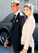 21-09-2013 - Saint-Maximin-La-Sainte-Baume - ierre Casiraghi and girlfriend Beatrice Borromeo leave the church . Prince Felix of Luxembourg (R) and his wife German student Claire Lademacher leave the church after their religious wedding ceremony on September 21, 2013 at the Saint Mary Magdalene Basilica in Saint-Maximin-La-Sainte-Baume, southern France.  COPYRIGHT ROBIN UTRECHT