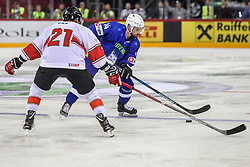 Matic Podlipnik of Slovenia during Ice Hockey match between National Teams of Hungary and Slovenia in Round #3 of 2018 IIHF Ice Hockey World Championship Division I Group A, on April 25, 2018 in Arena Laszla Pappa, Budapest, Hungary. Photo by David Balogh / Sportida