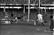 01/09/1985<br /> 09/01/1985<br /> 1 September 1985<br /> All-Ireland Hurling Final: Offaly v Galway at Croke Park, Dublin. <br /> Pat Cleary, the Offaly forward, tumbles to the ground as his ball is followed into the Galway goal. This was Offaly's second goal of the match.