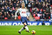 Tottenham Hotspur Midfielder Christian Eriksen (23) in action during the Premier League match between Tottenham Hotspur and Newcastle United at Wembley Stadium, London, England on 2 February 2019.