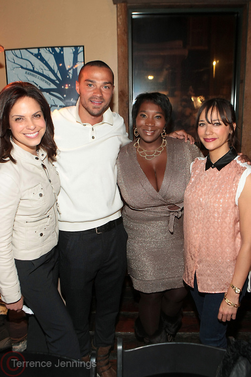 Park City, Utah- January 21:  l to r:  News Anchor Soledad O'Brien, Actor Jesse Williams, Media personality Bevy SmithActress/Screenwriter and Rashida Jones at ' Dinner with Bevy' honoring Jesse Williams and Rashida Jones presented by Moet & Chandon and The Blackhouse Foundation held at Blackhouse on January 21, 2012 in Park City, Utah. Photo Credit: Terrence Jennings