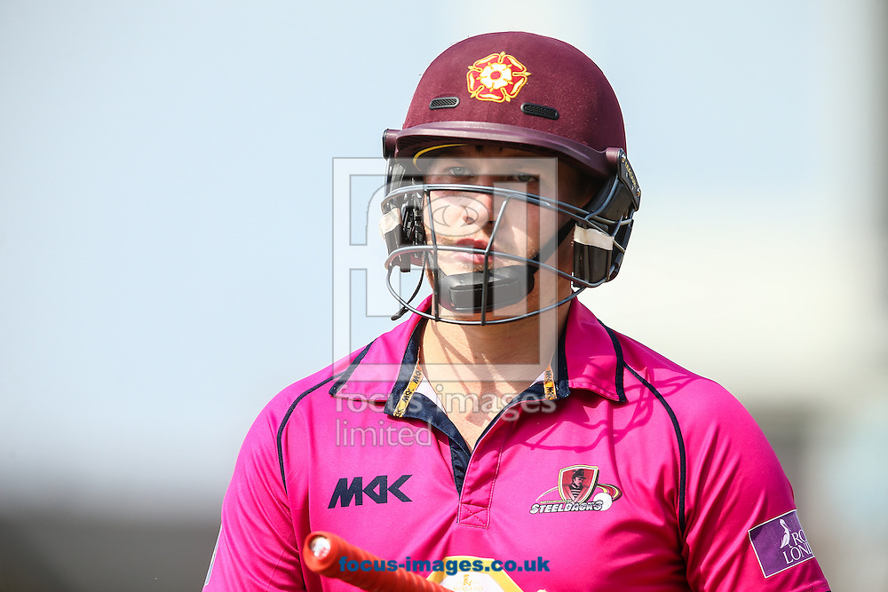 Josh Cobb of Northants Steelbacks after being dismissed for 66 runs during the Royal London One Day Cup quarter-final match at the County Ground, Northampton<br /> Picture by Andy Kearns/Focus Images Ltd 0781 864 4264<br /> 18/08/2016