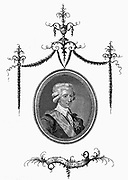 Gustav III (1746-92) King of Sweden from 1671.  Assassinated during a masked ball.  Verdi's 1859 opera 'Un ballo in maschera' originally romanticised version of episode, but censorship would now allow  assassination of a king, so plot was transferred to 17th century Boston, Massachusetts. Copperplate engraving.