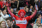 MIDDLESBOROUGH FAN during the Sky Bet Championship Play Off Second Leg match between Middlesbrough and Brentford at the Riverside Stadium, Middlesbrough, England on 15 May 2015. Photo by Simon Davies.