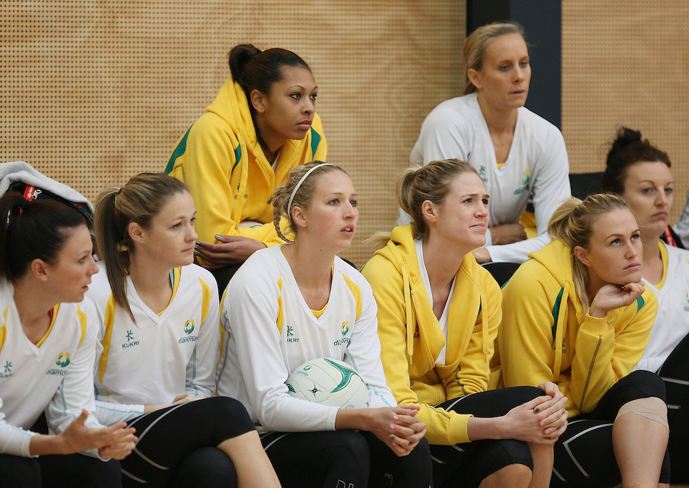 Members of the Australian netball team at training for the New World Quad series netball match against England, TECT Arena, Tauranga, New Zealand, Saturday, October 27, 2012. Credit:SNPA / Dianne Manson.