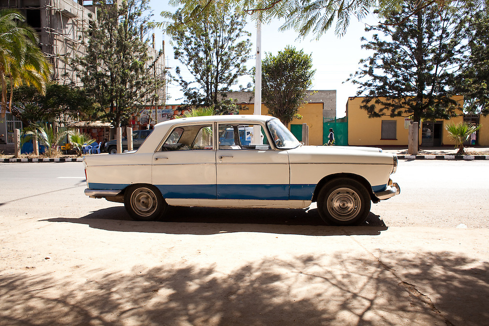 An old Puegot parked on the street of Axum, Tigray Region, Ethiopia