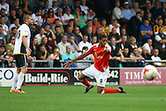 Crewe Alexandra&rsquo;s Vadaine Oliver appeals  for a foul. Skybet football league one match, Crewe Alexandra v Port Vale at the Alexandra Stadium in Crewe on Saturday 13th Sept 2014.<br /> pic by Chris Stading, Andrew Orchard sports photography.