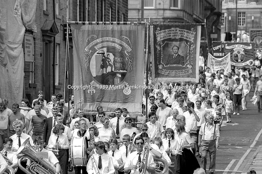 Denby Grange and Royston Drift  banners. NUM Centenary Demonstration and Gala, Barnsley.