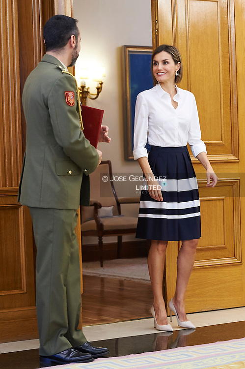 Queen Letizia of Spain attend an audience to the Executive Committee of the Union of Business Associations of the Spanish Cultural Industry at Palacio de la Zarzuela on September 2, 2015 in Madrid