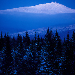 Dusk falls on Mt. Washington, New England's tallest mountain. Winter. White Mountains. Presidential Range. Twin Mountain, NH