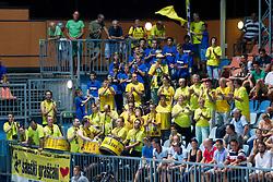 Fans of RK Gorenje Velenje during handball match between RK Celje Pivovarna Lasko vs RK Gorenje Velenje of Super Cup 2015, on August 29, 2015 in SRC Marina, Portoroz / Portorose, Slovenia. Photo by Urban Urbanc / Sportida