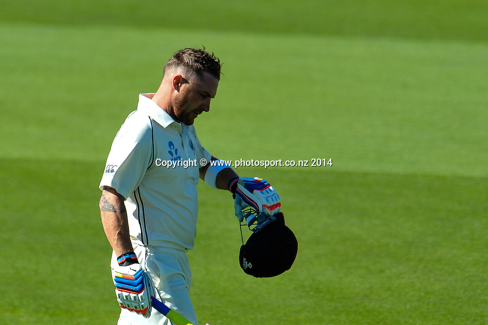 Brendon McCullum of the Black Caps walks off after scoring 195 in the 1st day of the cricket test match, NZ v Sri Lanka, Hagley Oval, 26 December 2014. Photo:John Davidson/www.photosport.co.nz