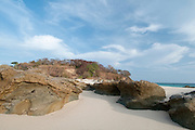 Low tide in the beach at  Isla Pacheca shore. Las Perlas Archipelago, Panama Province, Panama, Central America.