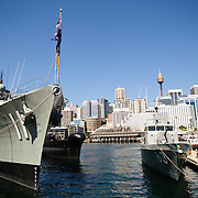 Navy ships and Sydney skyline at the Australian National Maritime Museum in Sydney, New South Wales