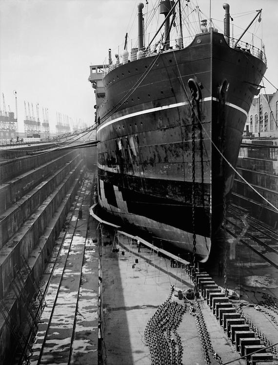 Merchant Ships, The Royal Docks, London, England, 1934