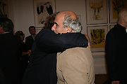 Julian Schnabel and Alan Yentob, Georg Baselitz, Royal Academy. 18 September 2007. -DO NOT ARCHIVE-© Copyright Photograph by Dafydd Jones. 248 Clapham Rd. London SW9 0PZ. Tel 0207 820 0771. www.dafjones.com.