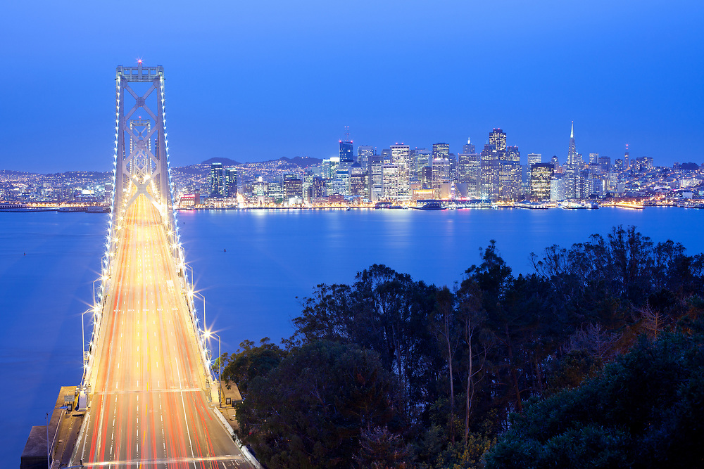 Bay bridge and city skyline, San Francisco, California, USA