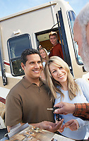 Couple Receiving Keys to New RV from Dealer