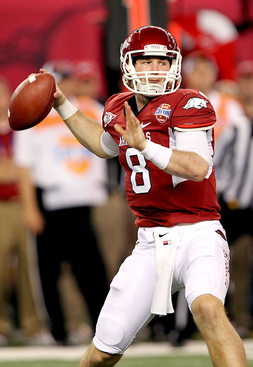 Arkansas quarterback Tyler Wilson (8) in action during the 2012 AT&T Cotton Bowl game between Arkansas and Kansas State at Cowboy Stadium in Arlington, Tx. on Jan 6th, 2012.