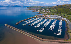 Aerial view of yacht marina at Largs Yacht Haven, North Ayrshire, Scotland, UK