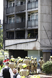 © Licensed to London News Pictures. 27/06/2020. London, UK. Fire brigade and other emergency services deal with a fire in a block of flats in Kennington, south London. Photo credit: Peter Macdiarmid/LNP