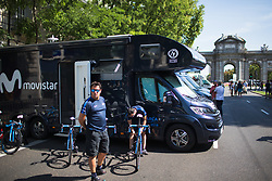 Movistar Women's Team staff prepares the bikes for Stage 2 of the Madrid Challenge - a 100.3 km road race, starting and finishing in Madrid on September 16, 2018, in Spain. (Photo by Balint Hamvas/Velofocus.com)