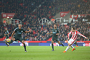 Vincent Kompany blocks a pass from Sheridan Shaqiri during the Premier League match between Stoke City and Manchester City at the Bet365 Stadium, Stoke-on-Trent, England on 12 March 2018. Picture by Graham Holt.