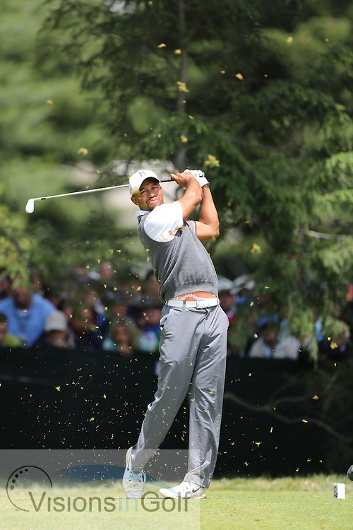 Tiger Woods <br /> on the second day at the US Open Championship, Merion East, PA. USA 2013 <br /> Picture Credit:  Mark Newcombe / visionsingolf.com