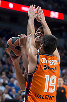 Real Madrid Walter Tavares and Valencia Basket Fernando San Emeterio during Turkish Airlines Euroleague match between Real Madrid and Valencia Basket at Wizink Center in Madrid, Spain. December 19, 2017. (ALTERPHOTOS/Borja B.Hojas)