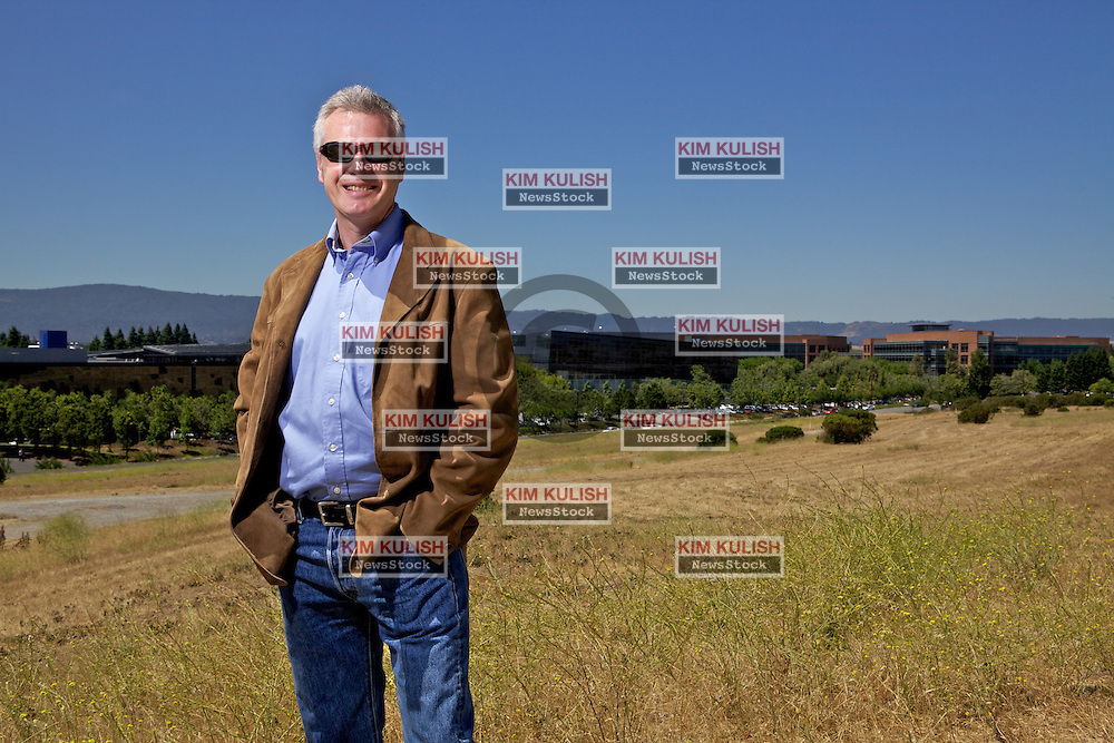 Portrait of Christian Bremeau, President, CEO Meta Integration Technology, Inc.,  on a hill above Google and and other Silicon Valley companies in  Mountain View, Calif.  Photography By Kim Kulish