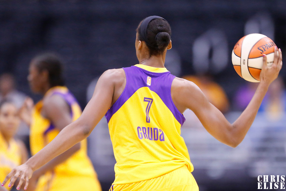 25 May 2014: Los Angeles Sparks forward/center Sandrine Gruda (7) looks to pass the ball during the Los Angeles Sparks 83-62 victory over the San Antonio Stars, at the Staples Center, Los Angeles, California, USA.