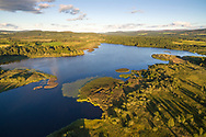An aerial overlooking loch davan in the muir of dinnet national nature reserve. Cairngorms National Park, Scotland.