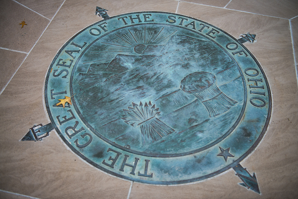A large bronze replica of the Great Seal of Ohio is central to Ohio University's newly renovated College Gateway following months of work to improve the space's accessibility; October 8, 2016.