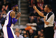 Jan. 24, 2012; Phoenix, AZ, USA; Phoenix Suns forward Hakim Warrick (21) reacts to a call made while playing against the Toronto Raptors during the second half at the US Airways Center. The Raptors defeated the Suns 99-96. Mandatory Credit: Jennifer Stewart-US PRESSWIRE.